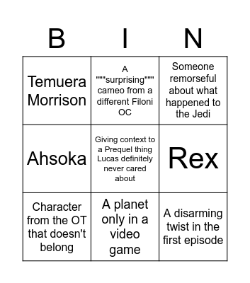 Dave Filoni Bingo Card
