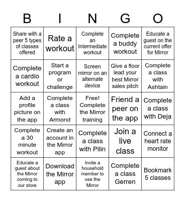 Mirror Bingo Card