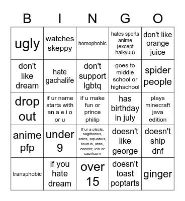 dni list Bingo Card