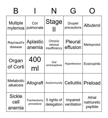 Final Exam Bingo Card