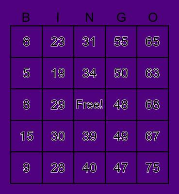 BINGO A.A.A.X.V.N Bingo Card