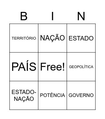 Geo Bingo Card