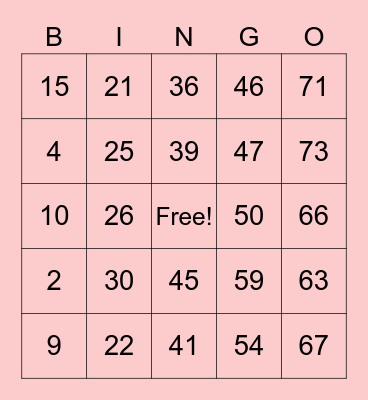 Bingo - Español Bingo Card