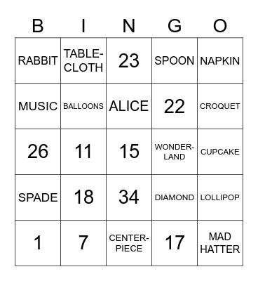Mad Hatter's Tea Party Bingo Card