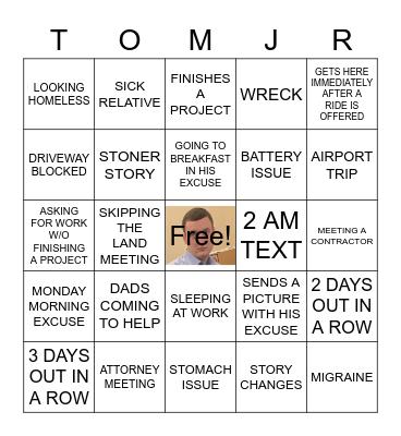 TOM THE CREATOR BING Bingo Card