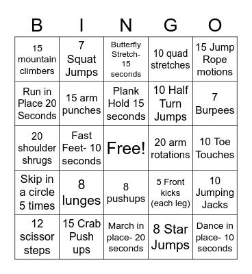 Gym BINGO Card