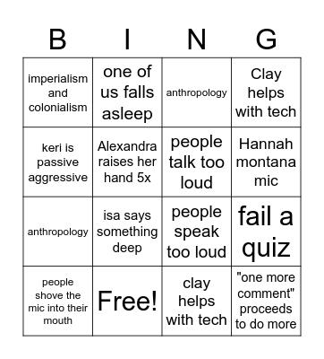 morning lecture bad Bingo Card