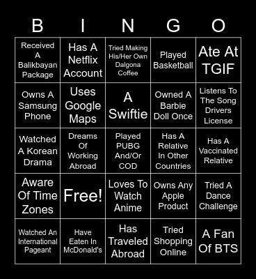 GOING GLOBAL Bingo Card