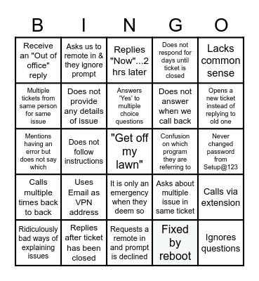 I.T LIFE Bingo Card