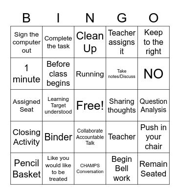 Rules & Procedures Bingo Card