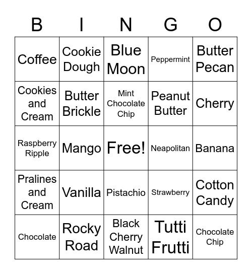 ICE CREAM Bingo Card