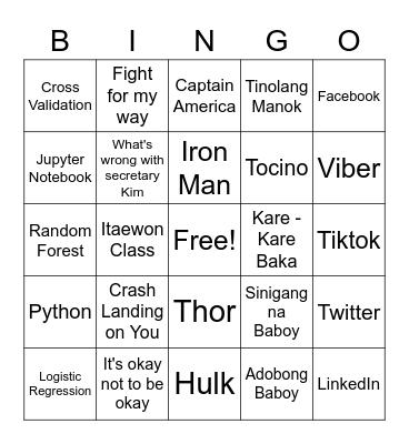 Bingo Sean Bingo Card