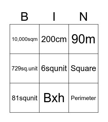 Perimeter and area 2 Bingo Card