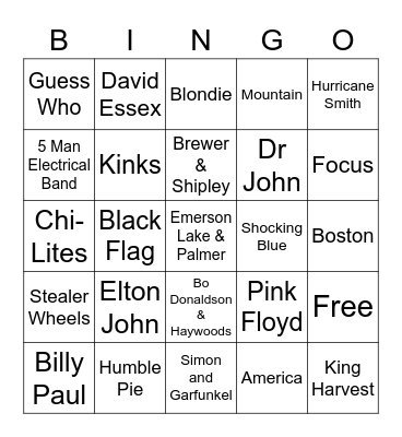Unsupported - 70s Bingo Card