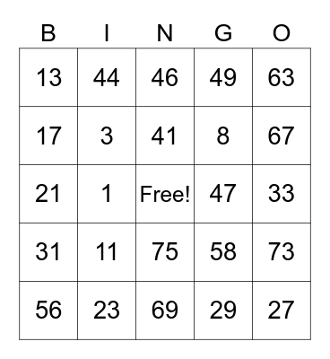 TESTING Bingo Card