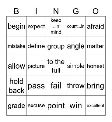 B4U6單字 Bingo Card