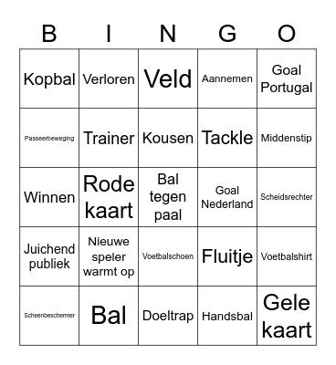 Voetbal Bingo Card