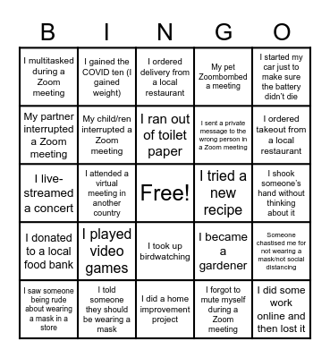 Pandemic Bingo! Bingo Card