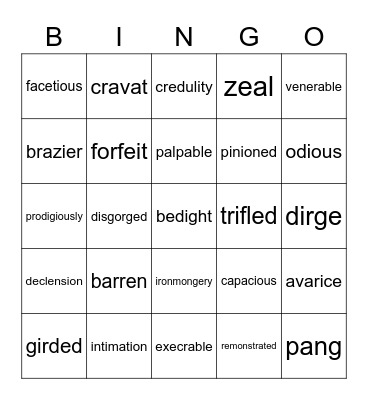 Vocabulary for A Christmas Carol Bingo Card