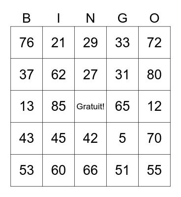 Les chiffres! (1 - 85) Bingo Card
