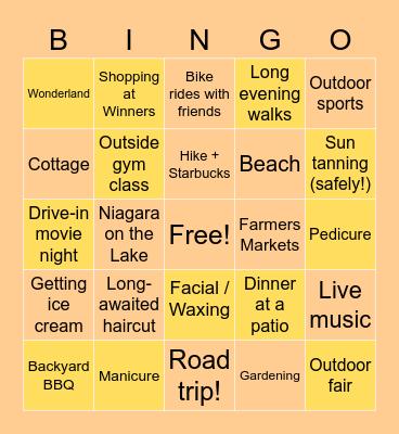 Summer Plans Bingo! Bingo Card