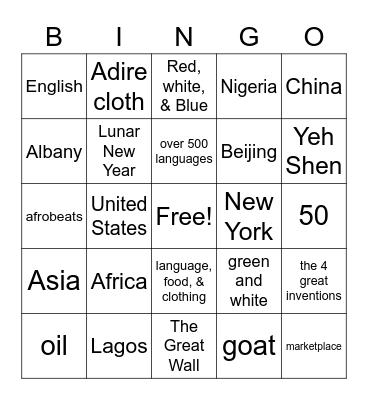 Social Studies Bingo Card