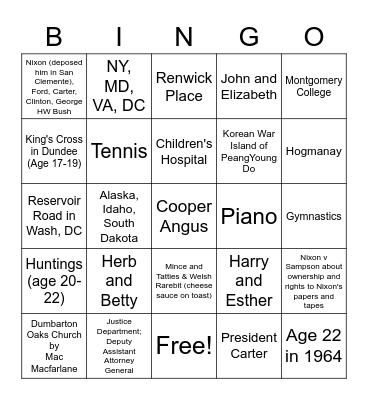 All About Irwin & Margaret/Granny & Grandad Bingo Card
