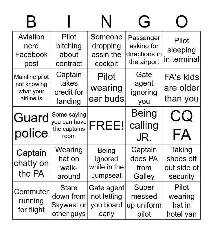 Airline pilot bingo  Bingo Card