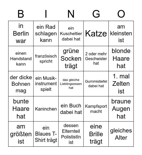 Finde jmd. der/ mit Bingo Card
