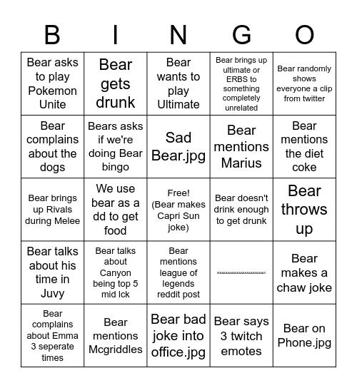 Bear Bingo Card