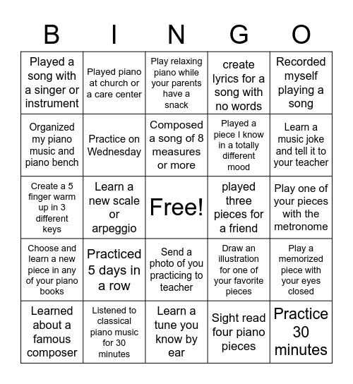 Summer Piano Bingo Card