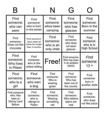 Gads Hill Bingo Card