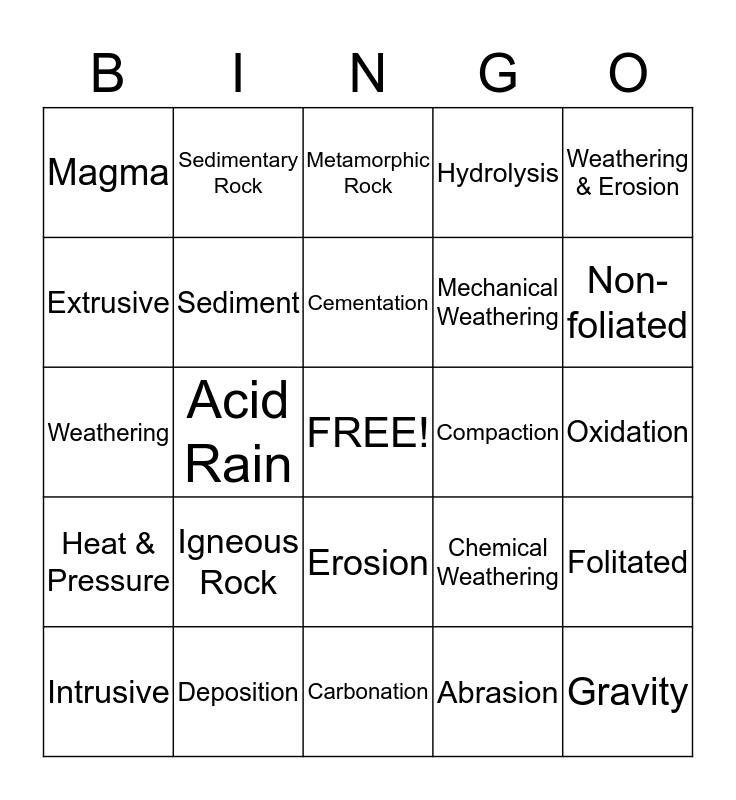 Rock Cycle  Bingo Card