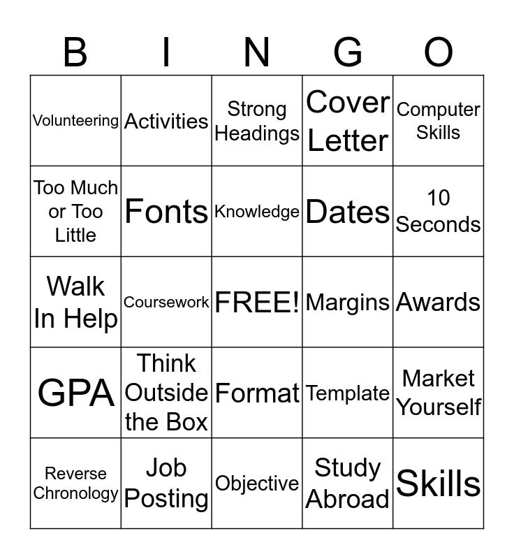 Resume Bingo Card