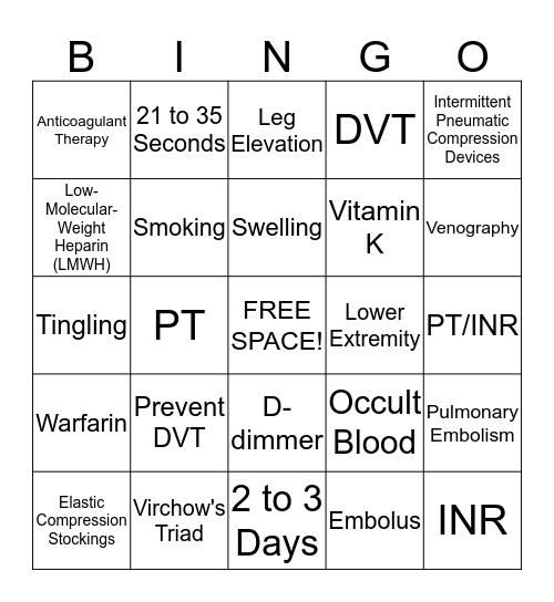 DVT BINGO Card