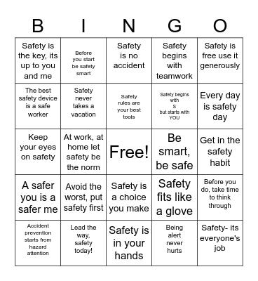 BSAFE Bingo Card
