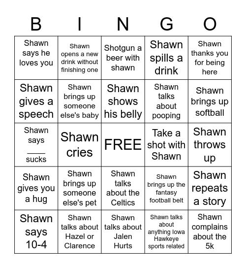 SEANS PARTY Bingo Card