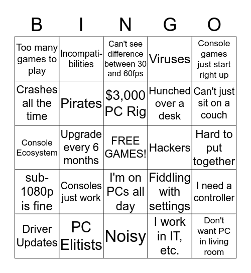 GAF PC Excuses Bingo Card