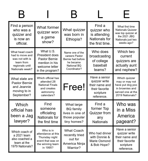 Thursday Night Bingo Card