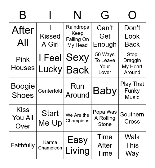 Music Bingo 3 Bingo Card