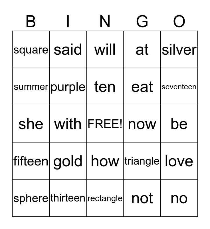 Spelling Words Bingo Card