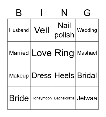 Mashael's Bridal Bingo Card