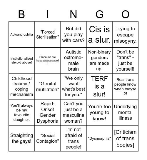 Transphobia Bingo Card