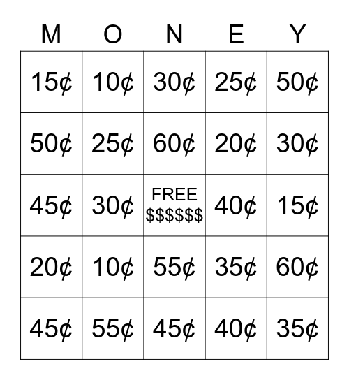 Money Bingo Card