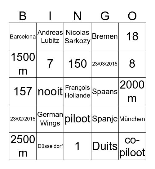 Vliegtuigcrash Bingo Card