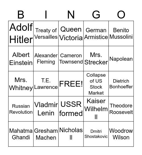 Hisotry Revealed Bingo Card