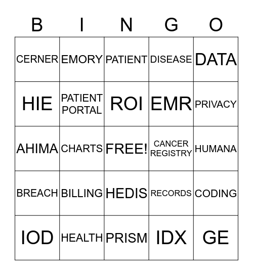 H.I.M. BINGO  Bingo Card