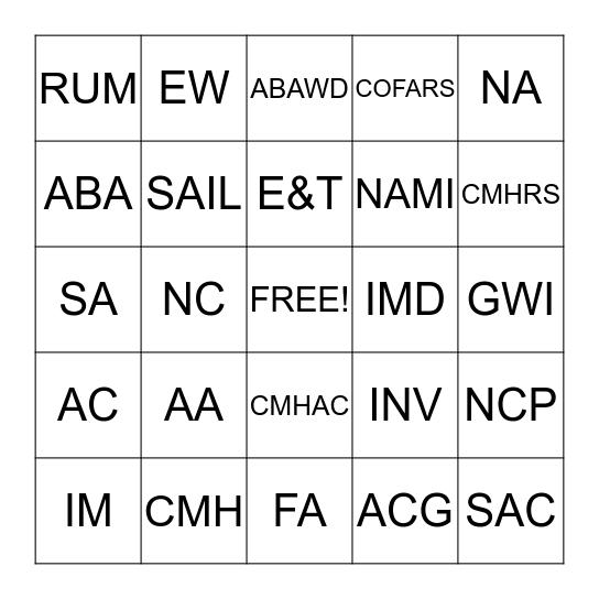 WORKO                                                                  Bingo Card