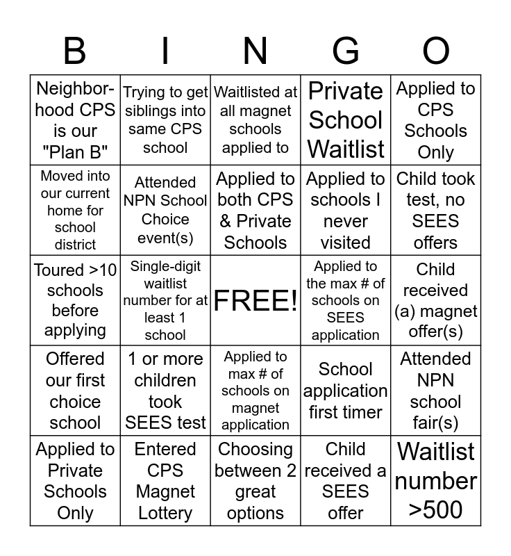 NPN School Search Bingo!! Bingo Card
