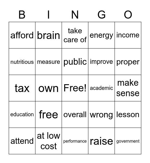 Unit 05 Free School Lunches Bingo Card